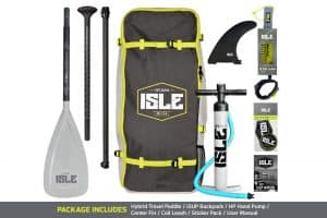 ISLE Airtech Inflatable Paddle Board Includes Adjustable Travel Paddle Carrying Bag Pump