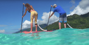 a picture of a paddle board workout