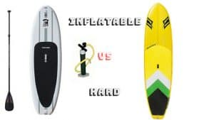 a picture of inflatable vs hard paddle board