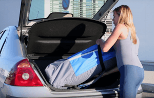 a picture of an inflatable sup in a car