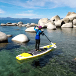 a picture of flat water paddle boarding